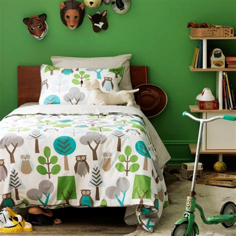 dwellstudio s kids bedding owls sky duvet set