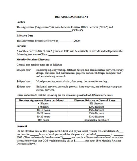 Retainer Agreement Letter Sle Sle Retainer Agreement 6 Exle Format