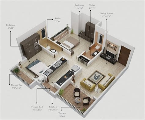plan maison 3d d appartement 2 pi ces en 60 exemples plan appartement 2 chambres