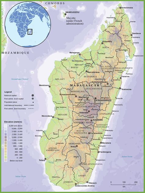 madagascar map madagascar physical map