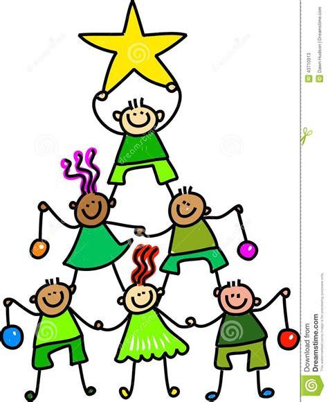 weihnachtsbaum kinder stock abbildung bild von stern