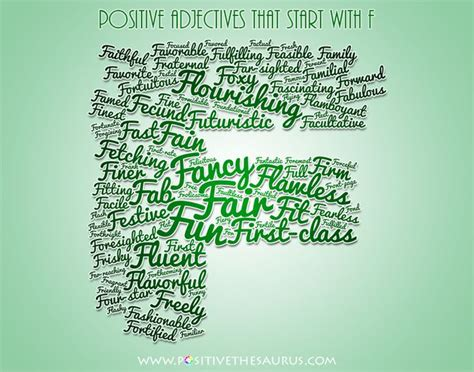 positive up letter positive adjectives beginning with letter f word cloud
