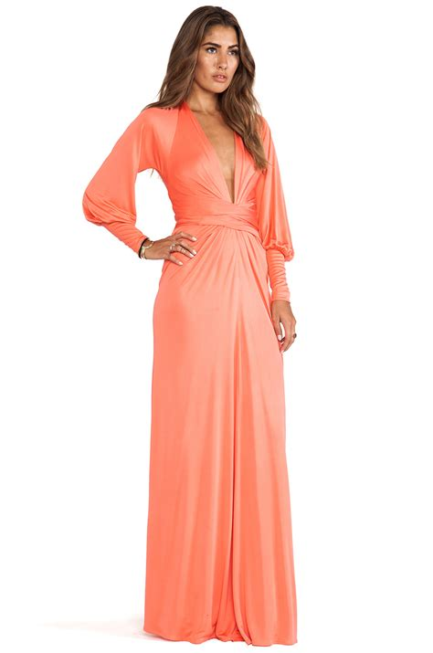 Maxi Wrap Dress lyst issa sleeve wrap maxi dress in