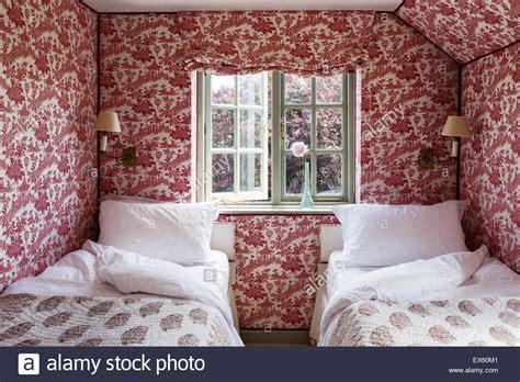 toile wallpaper bedroom christopher howe toile wallpaper and blind in twin bedroom