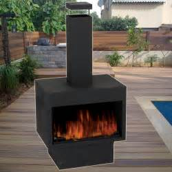 metal chiminea log pit wood burner garden outdoor