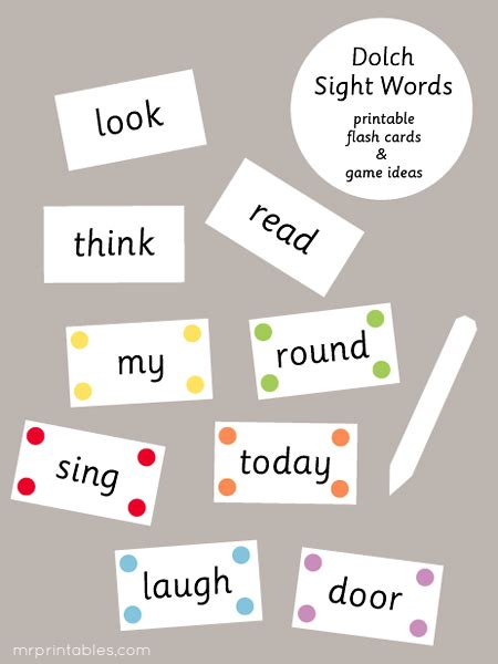 printable flash cards of sight words dolch sight words flash cards mr printables