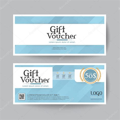 blue card register template gift voucher design vector template layout for business