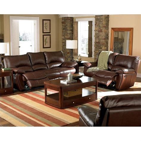 Brown Living Room Furniture Sets Coaster Clifford 3 Reclining Leather Sofa Set In Brown 600281 82 83 3pkg