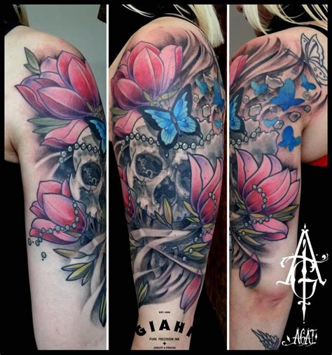 skull with flowers tattoo cracked butterfly flowers skull by agat artemji