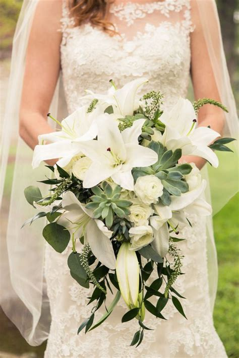 Wedding Bouquets Using Succulents by My Bridal Cascade Bouquet Using Casablanca Lilies And