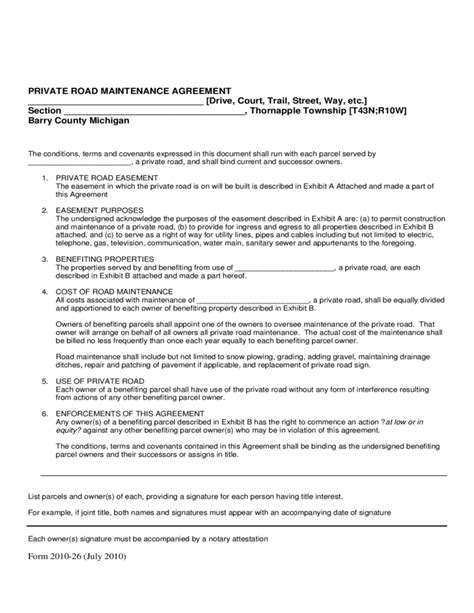 road agreement template 28 images road maintenance