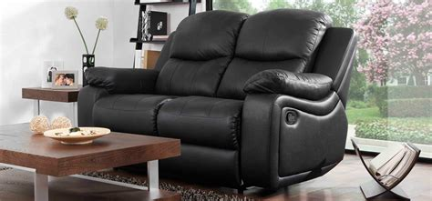 Leather Sofa Montreal Montreal Midnight Black Reclining 2 Seater Leather Sofa Sofashop