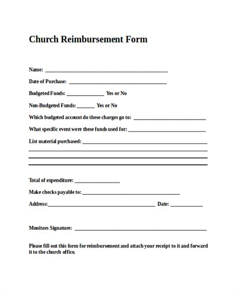 church expense reimbursement form sle vatansun