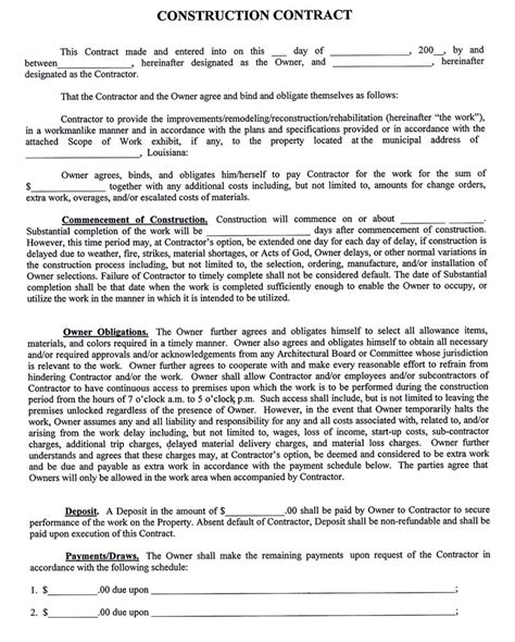 Printable Sle Construction Contract Template Form Construction Service Agreement Template