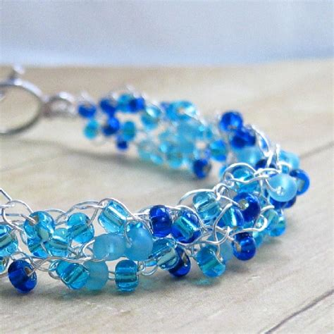 wire and bead jewelry wire and bead crochet bracelet blue handmade s