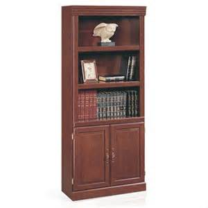 Cherry Wood Bookcase With Doors Sauder Heritage Hill 3 Shelf Library Bookcase With Doors Cherry Walmart