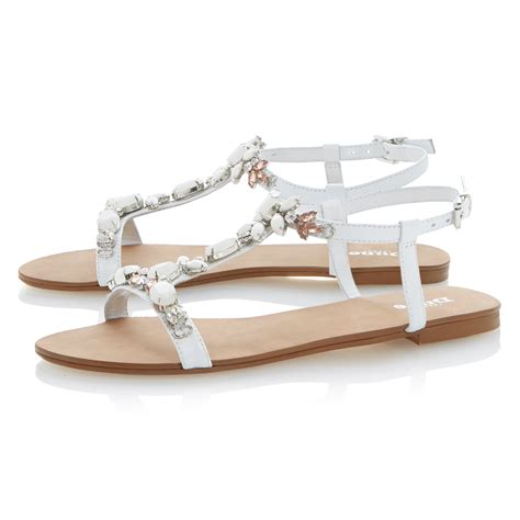 s dressy flat shoes dune khloe t bar embellished leather strappy flat sandals