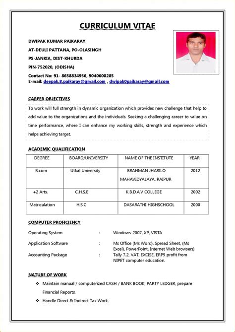 Resume Format For by Resume Format For