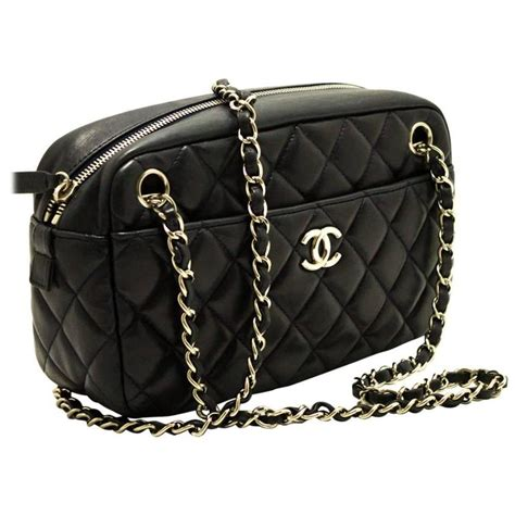 Chanel Quilted Bag Silver Chain by Chanel 2008 Navy Silver Chain Shoulder Bag Quilted