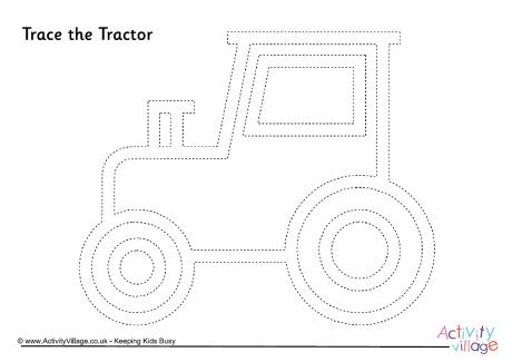 Tractor Tracing Page 1 Tractor Template For Preschoolers