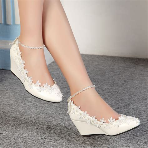 Ivory Wedding Shoes Wedge Heel by Bridal Shoes Low Wedge Heel Www Imgkid The Image