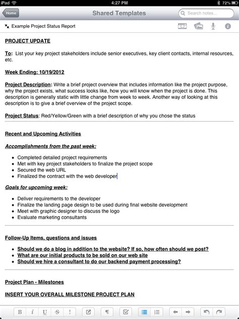 project management status report template one page project status