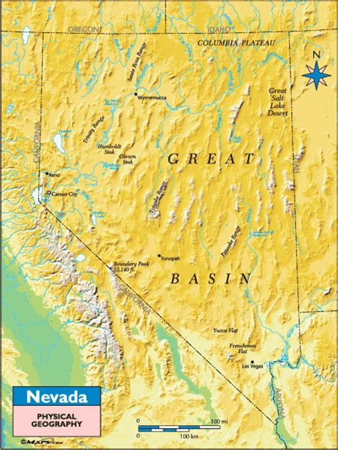 nevada physical map nevada physical geography map by maps from maps