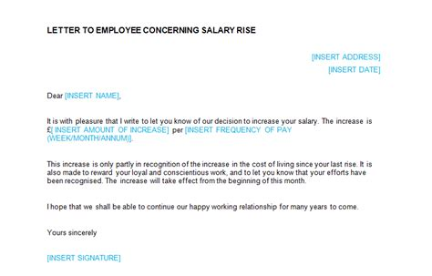 salary increase letter template from employer to employee 3 sample