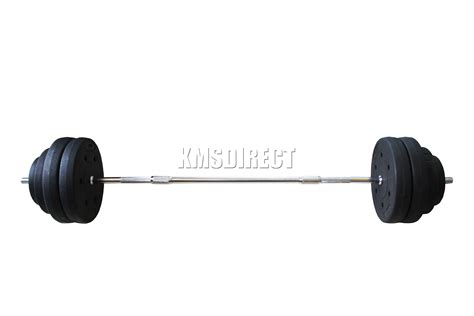 Request Barbell Set foxhunter curl bar barbell set weight lifting triceps arm workout ebay