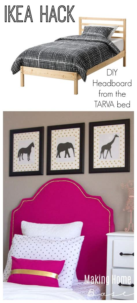 tarva bed hack ikea hack diy upholstered headboard