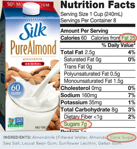 silk light almond milk nutrition facts silk organic almond milk nutrition facts besto blog