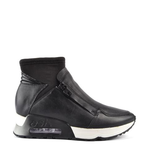 ash black leather trainer