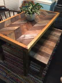 How To Make A Kitchen Table Out Of Pallets Pallet Chevron Table And A Bench Pallet Furniture Diy
