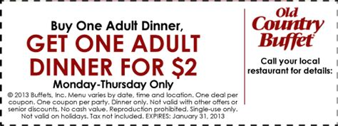 Old Country Buffet Bogo 2 Dinner Printable Coupon Country Buffet Coupon
