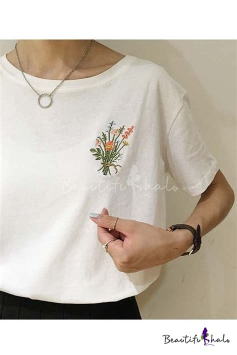 Floral Embroidered Shirts White fashion embroidered floral neck sleeve t shirt beautifulhalo