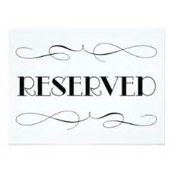 Reserved Sign Template by Reserved Seating Cards Zazzle