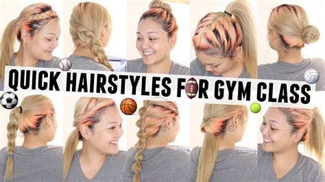 easy hairstyles gym 10 quick easy hairstyles for gym class p e youtube