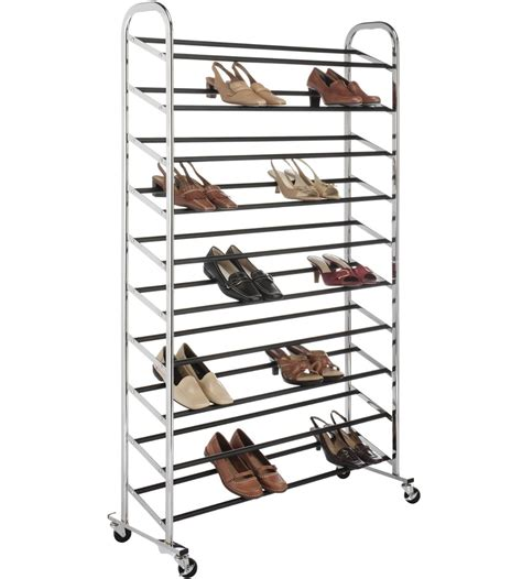 50 pair shoe cabinet portable shoe rack 50 pair chrome in shoe racks