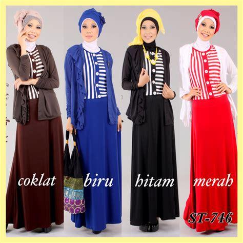 Dress Carta Kancing Bahu Uk S M L baju muslim gaya january 2014