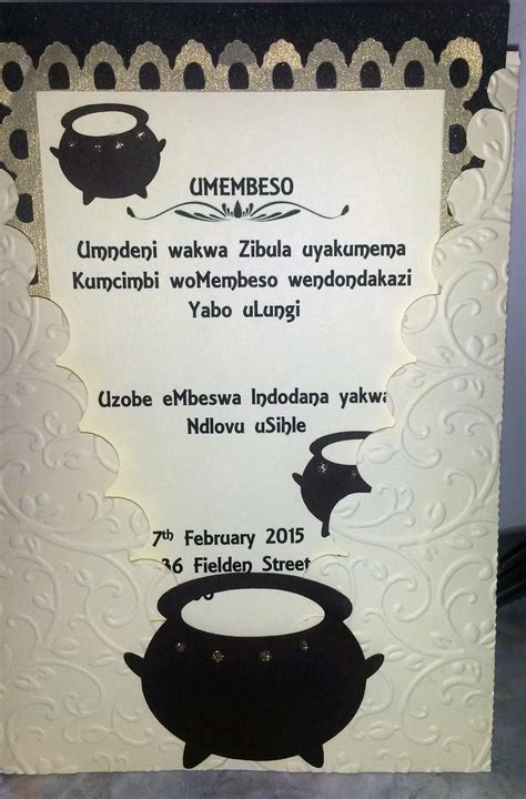 Traditional Wedding Invitation Cards by Traditional Zulu Invitation Umembeso Copyright