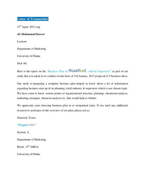Transmittal Letter For A Business Report On Business Plan On Unistore A Retail Superstore Vi