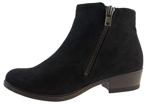 womens faux suede low block heel chelsea ankle boots zip