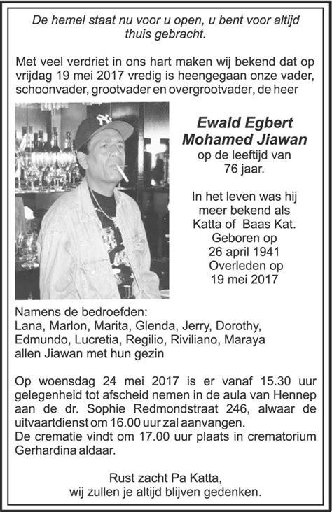 Overleden - Ewald Jiawan - FamilieNieuws.com