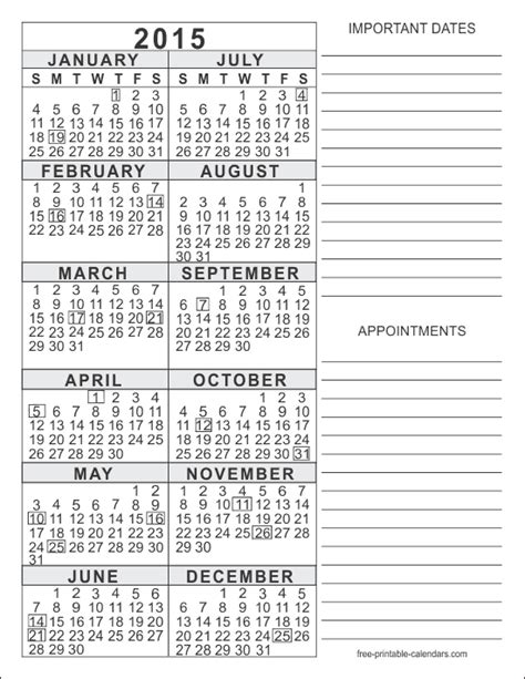 free printable 2015 yearly calendar filohobitimers