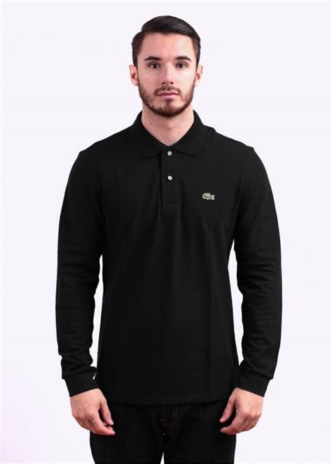 Polo Shirt Lacost Maroon Mix Black lacoste sleeve logo polo shirt black
