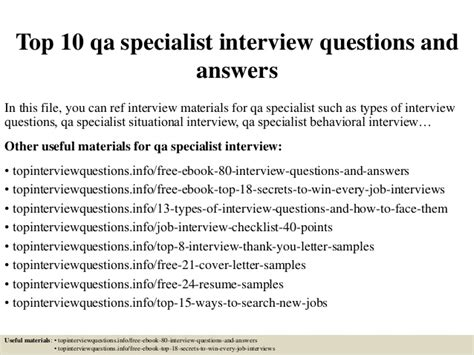 top 10 qa specialist questions and answers