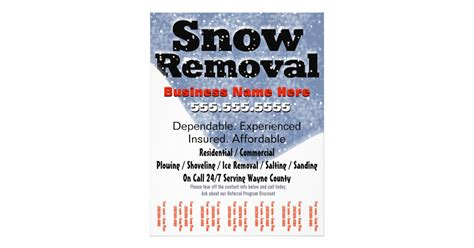free snow plowing business card templates snow removal plowing tear sheet template zazzle