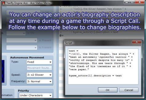 rpg biography generator ace status menu yanfly channel