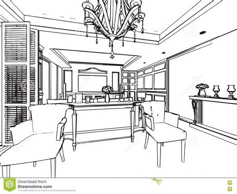interior drawing outline sketch drawing interior perspective of house stock vector image 74083025