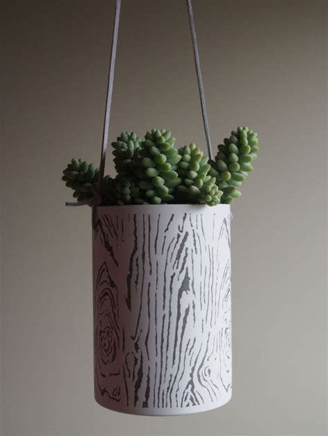 white hanging planter planters airplants snow white bark hanging metal
